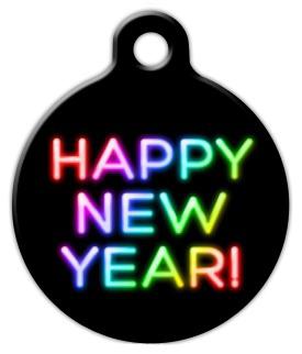 Dog Tag Art Neon New Year Pet ID Dog Tag