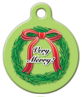 Dog Tag Art Christmas Wreath Pet ID Dog Tag
