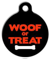 Dog Tag Art Woof or Treat Halloween Pet ID Dog Tag
