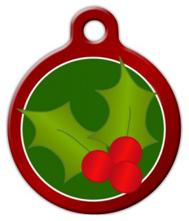Dog Tag Art Christmas Holly Pet ID Dog Tag