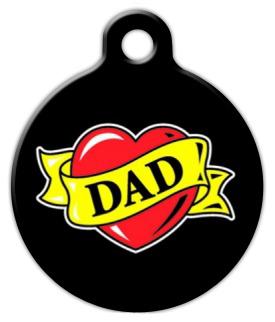 Dog Tag Art Dad Heart Tattoo Pet ID Dog Tag