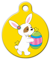 Dog Tag Art Easter Puppy with Egg Yellow Pet ID Dog Tag