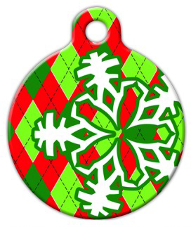 Dog Tag Art Argyle Christmas Pet ID Dog Tag