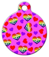 Dog Tag Art Male Hearts Pet ID Dog Tag