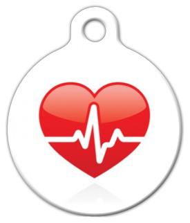 Dog Tag Art Heart Beat Medical Pet ID Dog Tag