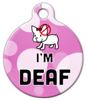 Dog Tag Art Cute Pink Deaf Pet ID Dog Tag