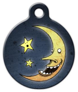 Dog Tag Art Laughing Moon Pet ID Dog Tag
