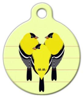 Dog Tag Art Gold Finches Pet ID Dog Tag