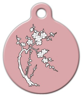 Dog Tag Art Zen Cherry Blossom Pet ID Dog Tag