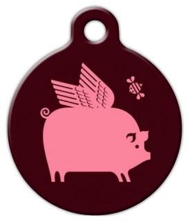 Dog Tag Art Winged Pig Pet ID Dog Tag