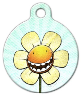 Dog Tag Art Happy Flower Pet ID Dog Tag