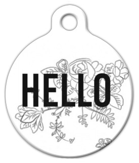 Dog Tag Art Floral Hello Pet ID Dog Tag