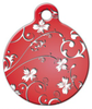 Dog Tag Art Red Flowers Pet ID Dog Tag