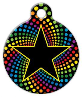 Dog Tag Art Star on Rainbow Background Pet ID Dog Tag