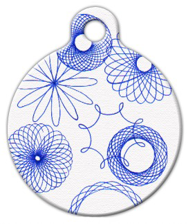 Dog Tag Art Blue Spirograph Pet ID Dog Tag
