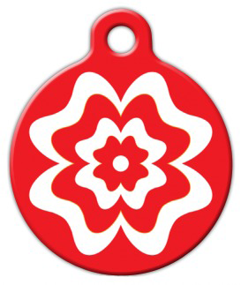 Dog Tag Art Red and White Flower Pet ID Dog Tag