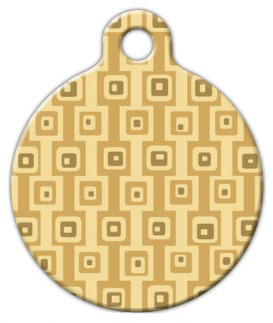 Dog Tag Art Brown Square Pattern Pet ID Dog Tag