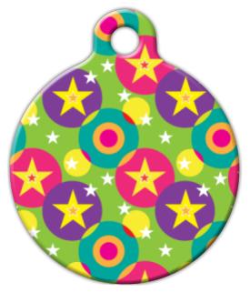 Dog Tag Art Circles and Stars Pet ID Dog Tag
