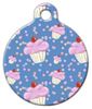 Dog Tag Art Blue Cupcake Pattern Pet ID Dog Tag