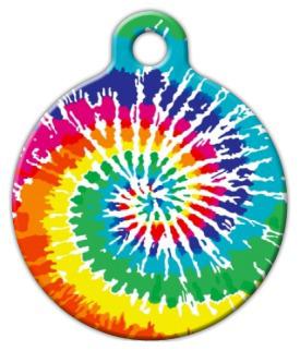 Dog Tag Art Tie Dye Rainbow Pet ID Dog Tag