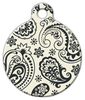 Dog Tag Art Cream and Black Paisley Pet ID Dog Tag
