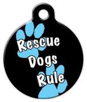 Dog Tag Art Rescue Dogs Rule Boy Pet ID Dog Tag