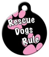 Dog Tag Art Rescue Dogs Rule Girl Pet ID Dog Tag