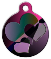 Dog Tag Art 3 Hearts Pet ID Dog Tag
