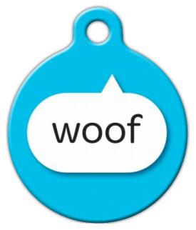 Dog Tag Art Blue Woof Pet ID Dog Tag