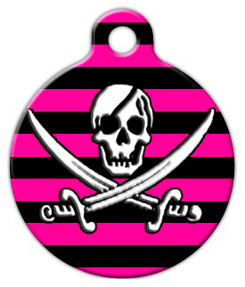 Dog Tag Art Pink and Black Pirate Pet ID Dog Tag