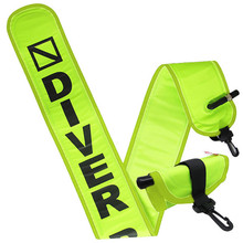 Scuba Diving 4ft Neon Yellow Surface Marker Signal Tube w/ Plastic Clip
