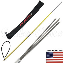 6' ft Travel Spearfishing 2Piece Fiber Glass Pole Spear 3Prong Paralyzer Tip Bag