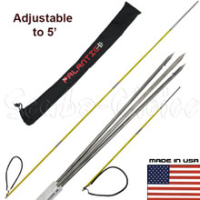 7' Travel Spearfishing 3-Piece Pole Spear 3 Prong Paralyzer Tip Adjustable to 5'