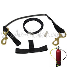 """Scuba Diving Sidemount Strap For 6"""" Tank with Clamp and Brass Clips"""