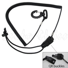Surfing Surfboard SUP Coil Paddle Leash Cord w/ Quick Release Buckles & Clips