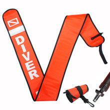 Scuba 6ft High Visibility Reflective Surface Marker w/ BC Hose/Oral Inflator