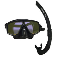 Scuba Choice Dive Mask With Yellow Mirror Coated Lense + Black Snorkel Combo