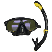 Scuba Choice Mask With Yellpw Mirror Coated Lense + Black/Yellow Snorkel Combo