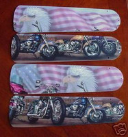 "New MOTORCYCLES FLAG EAGLE 52"" Ceiling Fan BLADES ONLY"
