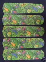 "New TROPICAL RAINFOREST FROGS FROG 52"" Ceiling Fan BLADES ONLY"