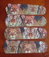 """New AFRICAN LION TIGER 42"""" Ceiling Fan BLADES ONLY"""