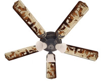New BEAR MOOSE DEER RUSTIC CABIN LODGE Ceiling Fan 52""