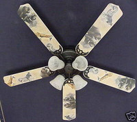 New AFRICAN SAFARI ELEPHANT ZEBRA Ceiling Fan 52""