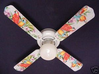 New EXOTIC JUNGLE PARROTS Ceiling Fan 42""