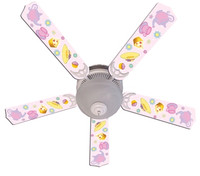 """New GIRLS PINK TEA TIME PARTY Ceiling Fan 52"""""""