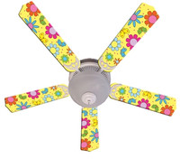 New FLOWER POWER BUTTERFLIES YELLOW Ceiling Fan 52""