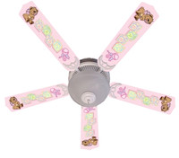 New BABY NURSERY TOYS BLOCKS PINK Ceiling Fan 52""