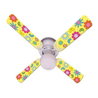 New FLOWER POWER BUTTERFLIES YELLOW Ceiling Fan 42""