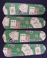 "New POKER CARDS CASINO CRAPS 42"" Ceiling Fan BLADES ONLY"