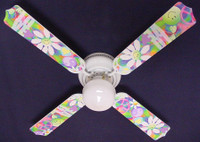New PEACE LOVE HAPPY FACE 60'S FLOWERS Ceiling Fan 42""